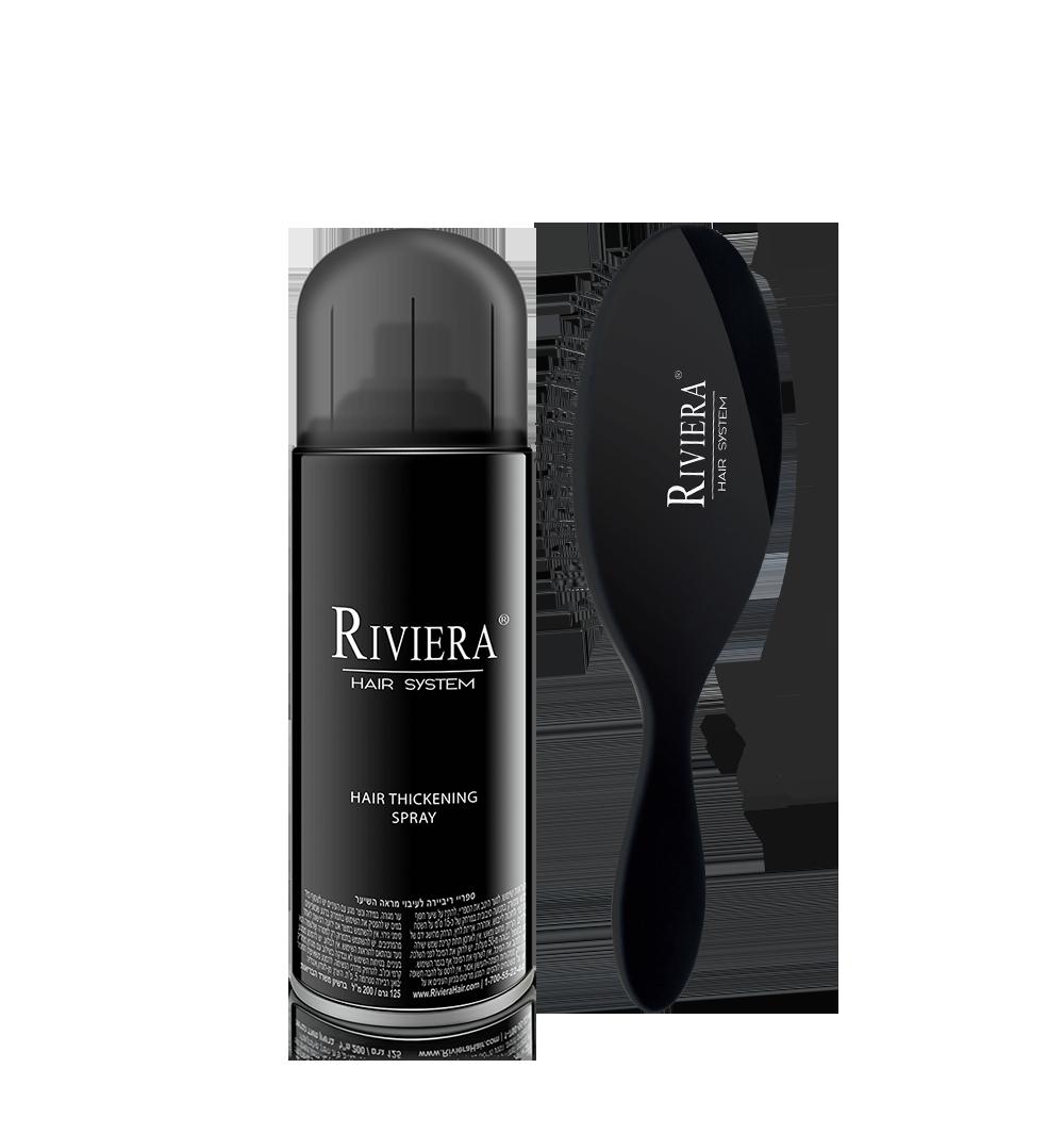 ריביירה מעבה שיער + מברשת לשיער דליל